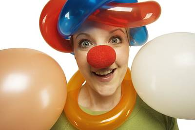 Artist Working Photograph - A Clown With Balloons by Darren Greenwood