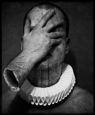 Photograph - A Clowns Death Hand Covering Face by Johan Lilja