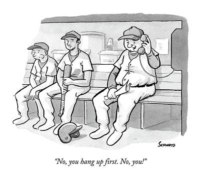 Dugouts Drawing - A Coach In A Baseball Dugout Speaks On The Phone by Benjamin Schwartz