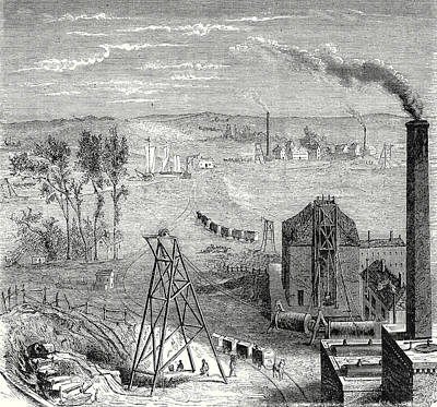 A Coal Mine In Newcastle With Wagons Drawn By Horses Art Print by English School