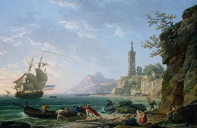 Boats In Harbor Painting - A Coastal Mediterranean Landscape by Claude Joseph Vernet