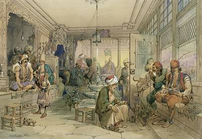 Turkey Drawing - A Coffee House, Constantinople, 1854 by Amadeo Preziosi