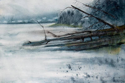 Art Print featuring the painting A Cold And Foggy View by Jani Freimann