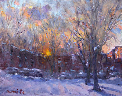 Snowed Trees Painting - A Cold Winter Sunset  by Ylli Haruni