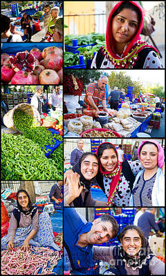 Photograph - A Collage Of The Fresh Market In Kusadasi Turkey by David Smith