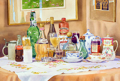 Table Painting - A Collection Of Drinks by Mary Helmreich