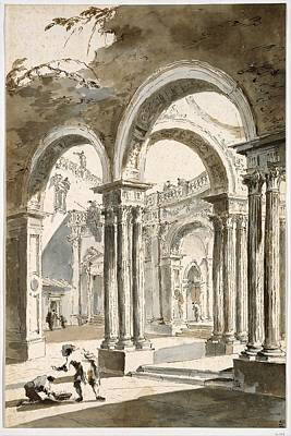 Francesco Guardi Drawing - A Colonnade, Partly Ruined, With Figures by Francesco Guardi