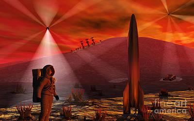 Surrealism Digital Art - A Colony Being Established On An Alien by Mark Stevenson