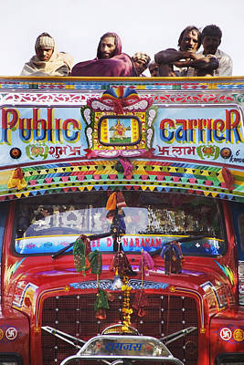 A Colorful Public Bus In Rajasthan Art Print by Alan Williams