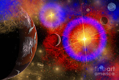 Surrealism Royalty-Free and Rights-Managed Images - A Colorful Section Of Alien Space by Mark Stevenson