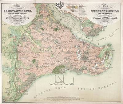 A Colour Map Of Constantinople Art Print