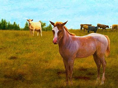 Digital Art - A Colt Among Cattle by Ric Darrell