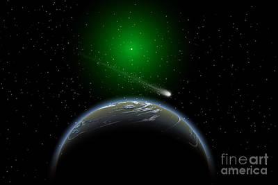 Surrealism Digital Art - A Comet Passing A Distant Alien World by Mark Stevenson
