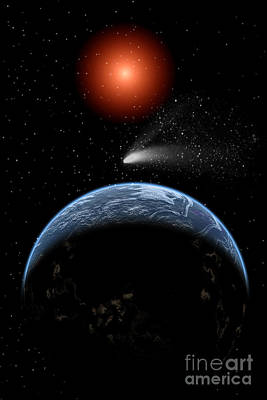 Surrealism Royalty-Free and Rights-Managed Images - A Comet Passing The Earth On Its Return by Mark Stevenson