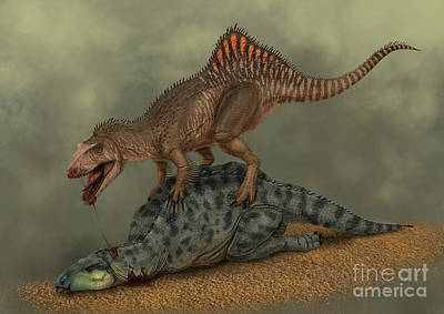 Two Tailed Digital Art - A Concavenator Kills A Young Iguanodon by Alvaro Rozalen