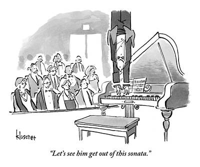 Fantasy Drawing - A Concert Pianist Hangs Upside by John  Klossner