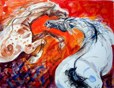Horse Painting - A Confrontation by Mary Armstrong