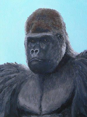 Art Print featuring the painting A Contemplative Gorilla by Margaret Saheed