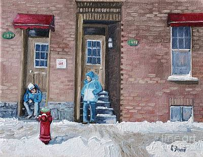 Point St. Charles Painting - A Conversation In The Point by Reb Frost