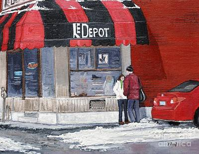 Streets Of Quebec Painting - A Conversation Near Le Depot by Reb Frost