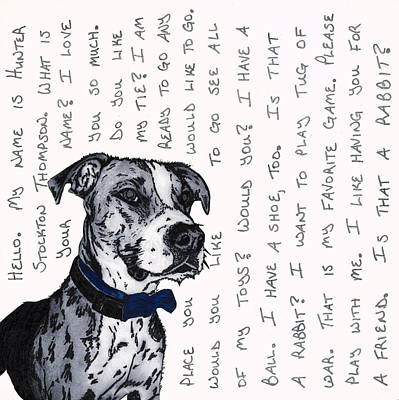 Stockton Drawing - A Conversation With A Boxer Mutt by Salvadore Delvisco