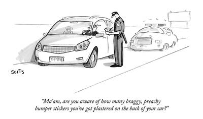February 16th Drawing - A Cop Pulls Over A Minivan by Julia Suits