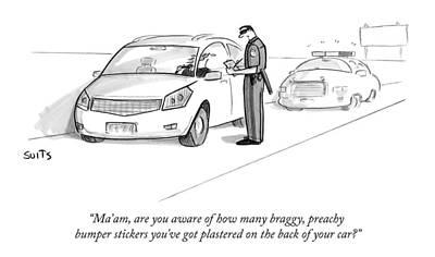Suits-julia Drawing - A Cop Pulls Over A Minivan by Julia Suits