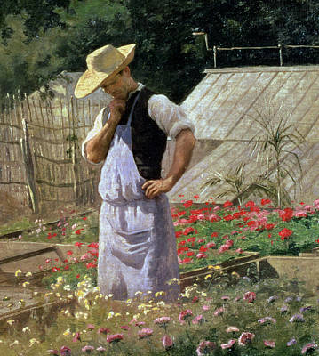 Allotment Painting - A Corner Of The Rose Garden At Bagatelle by Henri Adolphe Laissement