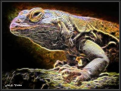 Painting - A Cosmic Lizard by Jon Volden
