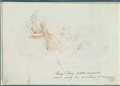 A Costume Design Sketch For A Hat Art Print by Anonymous, French, 18th century