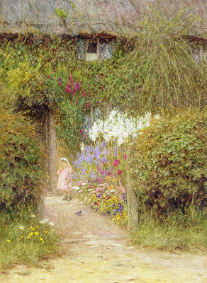 Drive In Painting - A Cottage At Redlynch by Helen Allingham