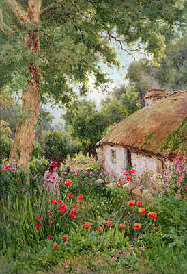 Charming Cottage Painting - A Cottage Garden by Tom Clough