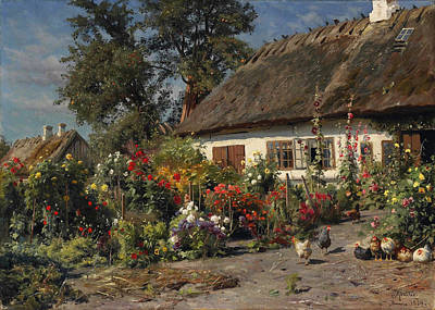 A Cottage Garden Painting - A Cottage Garden With Chickens by Peder Mork Monsted