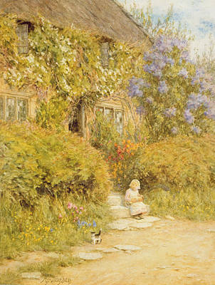Doorsteps Painting - A Cottage Near Crewkerne  by Helen Allingham
