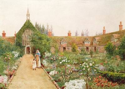 Standard Painting - A Country Garden At Bray, Berkshire by Thomas Nicholson Tyndale