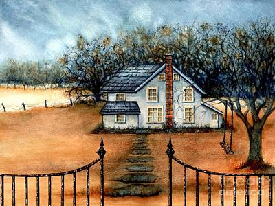Autumn In The Country Painting - A Country Home by Janine Riley