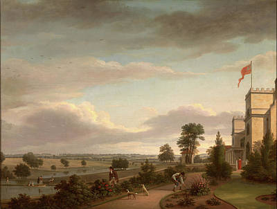 Herding Dog Painting - A Country House In A River Landscape, Previously Identified by Litz Collection