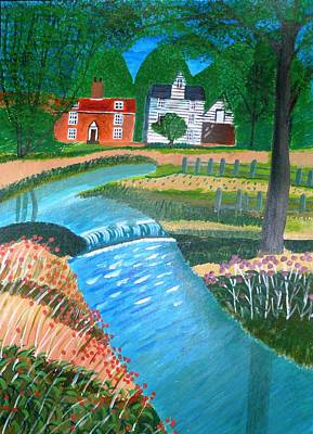 Art Print featuring the painting A Country Stream by Magdalena Frohnsdorff