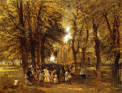 Nature Oil Painting - A Country Wedding by Charles Thomas Burt
