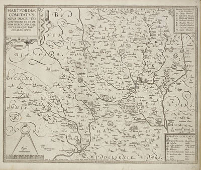 A County Map Of Hertfordshire Art Print by British Library