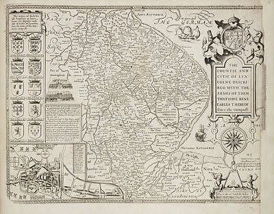 A County Map Of Lincolnshire Art Print