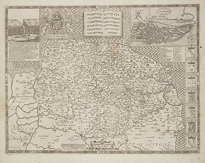 A County Map Of Norfolk And East Anglia Art Print by British Library