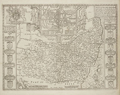 A County Map Of Suffolkcoats Of Arms Art Print by British Library