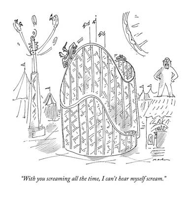 Roller Coaster Drawing - A Couple Argues On A Roller-coaster by Michael Maslin