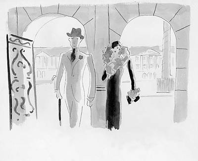 Urban Scenes Digital Art - A Couple At The Ritz Hotel by Oberle