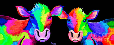 Colorful Cows Painting - A Couple Colorful Cows  by Nick Gustafson