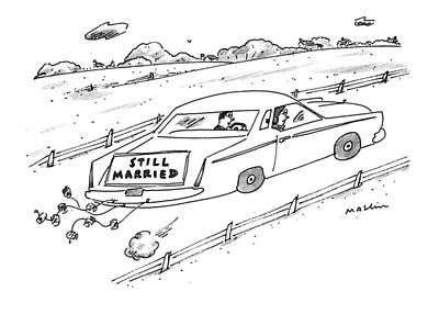 Read Drawing - A Couple Driving A Car With A Still Married Sign by Michael Maslin