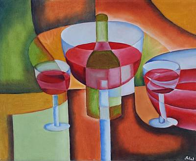 Stemware Painting - A Couple Glasses Of Wine by David Sobol