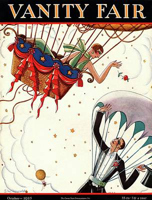 A Couple In Air Balloons Art Print by Stanley W. Reynolds