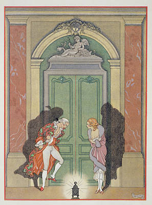 Liaison Painting - A Couple In Candlelight by Georges Barbier